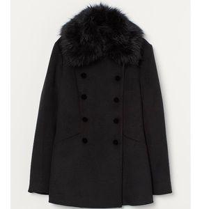 H&M Black Faux Fur Collar short Coat